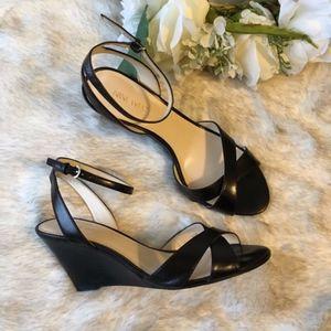 Nine West // Black Crisscross Ankle Strap Wedges